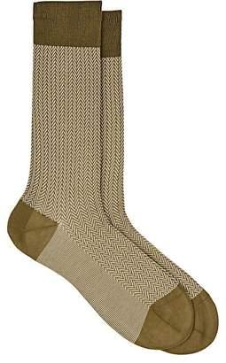Barneys New York Men's Herringbone Cotton-Blend Mid-Calf Socks