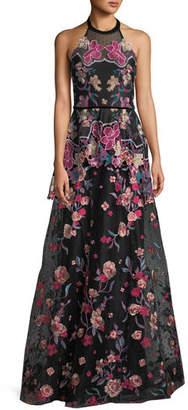 Marchesa Laser-Cut Embroidered Halter Gown