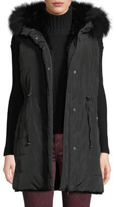 Belle Fare Reversible Fur & Down Vest w/ Hood