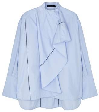 Ellery Richter Blue Draped Cotton Shirt