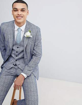 Moss Bros Wedding Skinny Suit Jacket In Blue Fleck Check