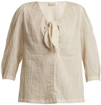 Masscob Striped knot-front cotton top