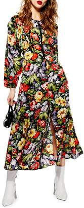 Topshop Floral Zip Through Midi Dress