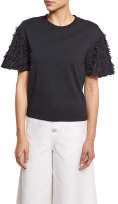 See by Chloe Short-Sleeve Fringe Jersey Tee, Black
