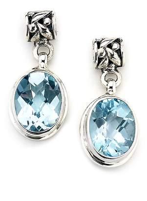 Samuel B Jewelry Sterling Silver Oval Checkerboard Blue Topaz Drop Earrings