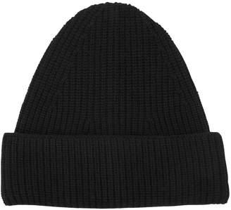 Wool Rib Knit Beanie Hat