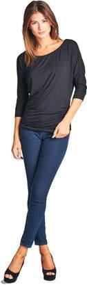 ReneeC. Women's 3/4 Dolman Sleeve Round Neck Heather Knit Top - Made in USA