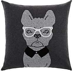 Arabella Rani Dog-With-Glasses Cashmere-Blend Pillow