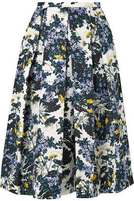 Erdem Ina Pleated Floral-print Cotton-blend Faille Midi Skirt - Petrol