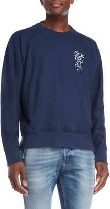 Beautiful Ful Navy Embroidered Center Seam Sweatshirt