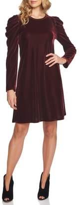 CeCe Puffed Shoulder Velvet Dress