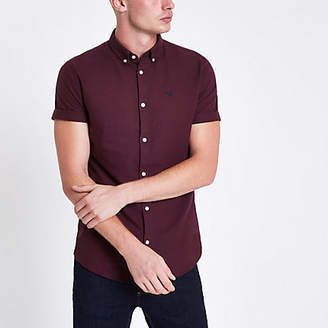 River Island Mens Burgundy short sleeve Oxford shirt