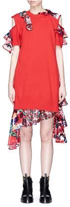 Sacai Floral print panelled cold shoulder knit dress