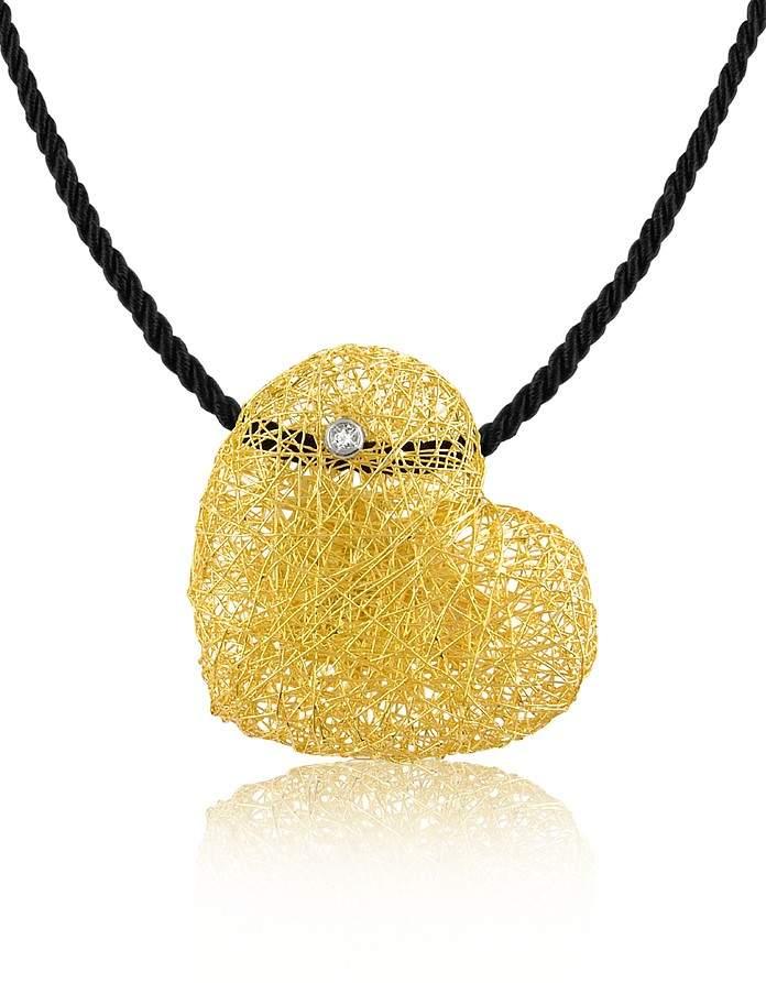 Orlando Orlandini Arianna - Diamond Heart Pendant w/Velvet Lace