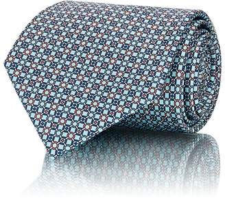 Brioni Men's Chained-Circle-Print Silk Satin Necktie