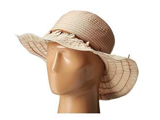 San Diego Hat Company RBL4786 Ribbon Hat with Shell Trim and Wired Edge