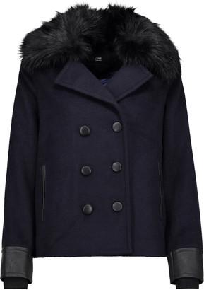 Line Drew faux fur and leather-trimmed felt coat $245 thestylecure.com