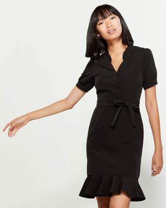 Nanette Lepore Nanette Black Flounce Hem Puff Sleeve Dress