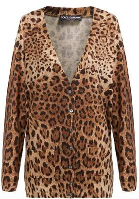 Dolce & Gabbana Leopard Print Cashmere Cardigan - Womens - Leopard