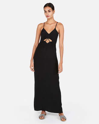 Express Solid Strappy Cut-Out Front Maxi Dress