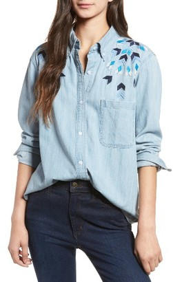 Women's Rails Brett Embroidered Chambray Shirt $188 thestylecure.com