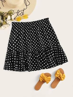 Shein Plus Frill Trim Layered Polka Dot Skirt