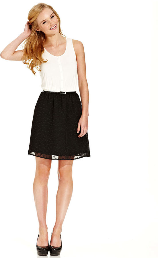 Eric + Lani Juniors Dress, Sleeveless Colorblock Belted Polka-Dot-Print