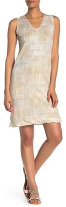 Kinross Brushstroke Print Sleeveless V-Neck Linen Dress