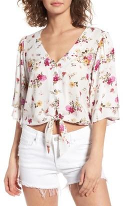 Women's Sun & Shadow Floral Tie Hem Crop Top $45 thestylecure.com