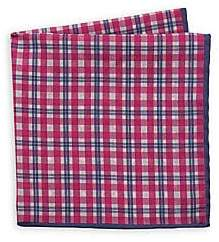 Saks Fifth Avenue Men's Plaid & Medallion Silk Pocket Square