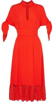 Guipure Lace-Paneled Cloqué Midi Dress