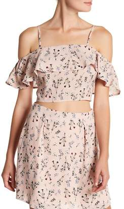 Sadie & Sage Cold Shoulder Floral Crop Top