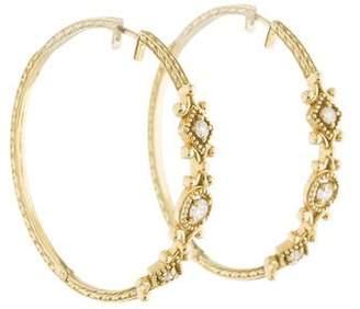 Penny Preville 18K Diamond Engraved Hoop Earrings