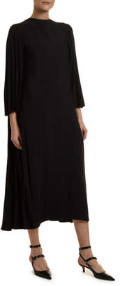 Valentino 3/4-Sleeve Pleated-Back Dress