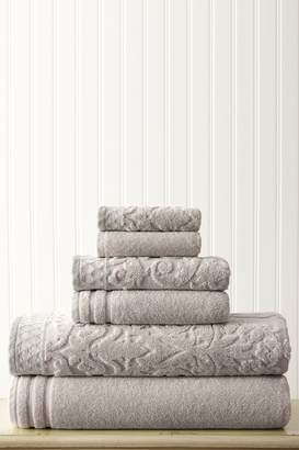 Amrapur Damask Jacquard Embellished Border Towel 6-Piece Set - Gray
