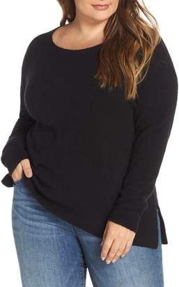 Caslon Fluffy Zip Back High/Low Tunic Sweater