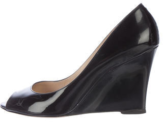 Jimmy Choo Jimmy Choo Patent Leather Peep-Toe Wedges