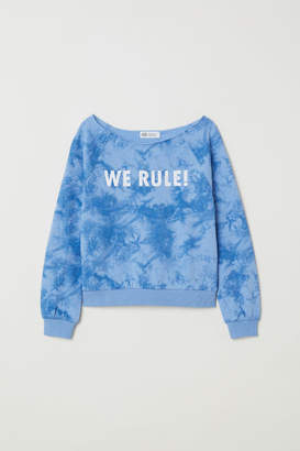 H&M Sweatshirt with Printed Design - Blue