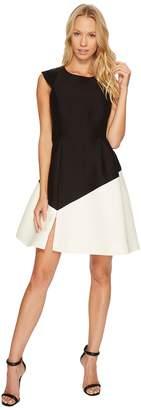 Halston Cap Sleeve Round Neck Colorblocked Dress Women's Dress