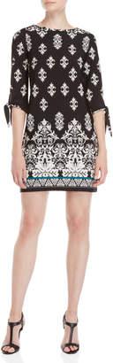 Sandra Darren Petite Black Printed Three-Quarter Sleeve Dress