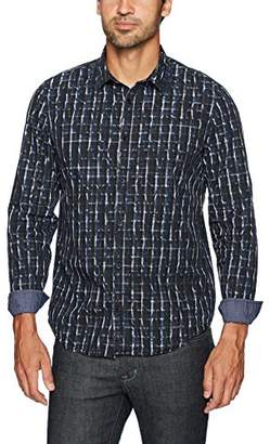 Calvin Klein Jeans Men's Long Sleeve Crackle Over Print Button Down Shirt