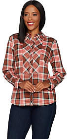 Denim & Co. Stretch Weave Plaid Button FrontShirt