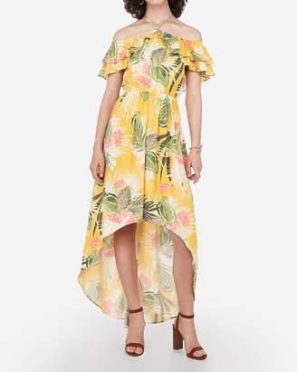 Express Floral Off The Shoulder Halter Hi-Lo Maxi Dress