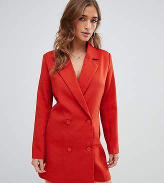 Missguided Petite tux blazer dress in rust