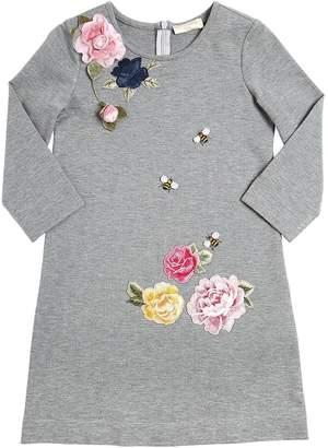 MonnaLisa Embroidered Milano Jersey Dress
