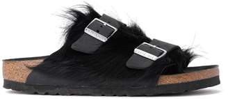 Birkenstock Arizona Cowhide Fur And Black Leather Sandal- Premium