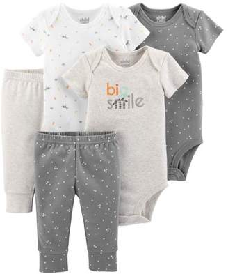Carter's Child of Mine by Short Sleeve Bodysuits & Pants, 5pc Set (Baby Boys or Baby Girls Unisex)