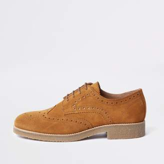 River Island Mens Brown suede contrast sole brogues