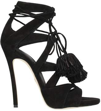 DSQUARED2 Tie Me Up Sandals In Black Suede