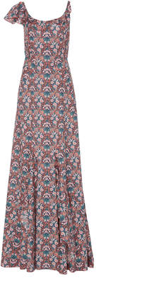 Zac Posen Liberty One-Sleeve Ruffle Cotton Gown